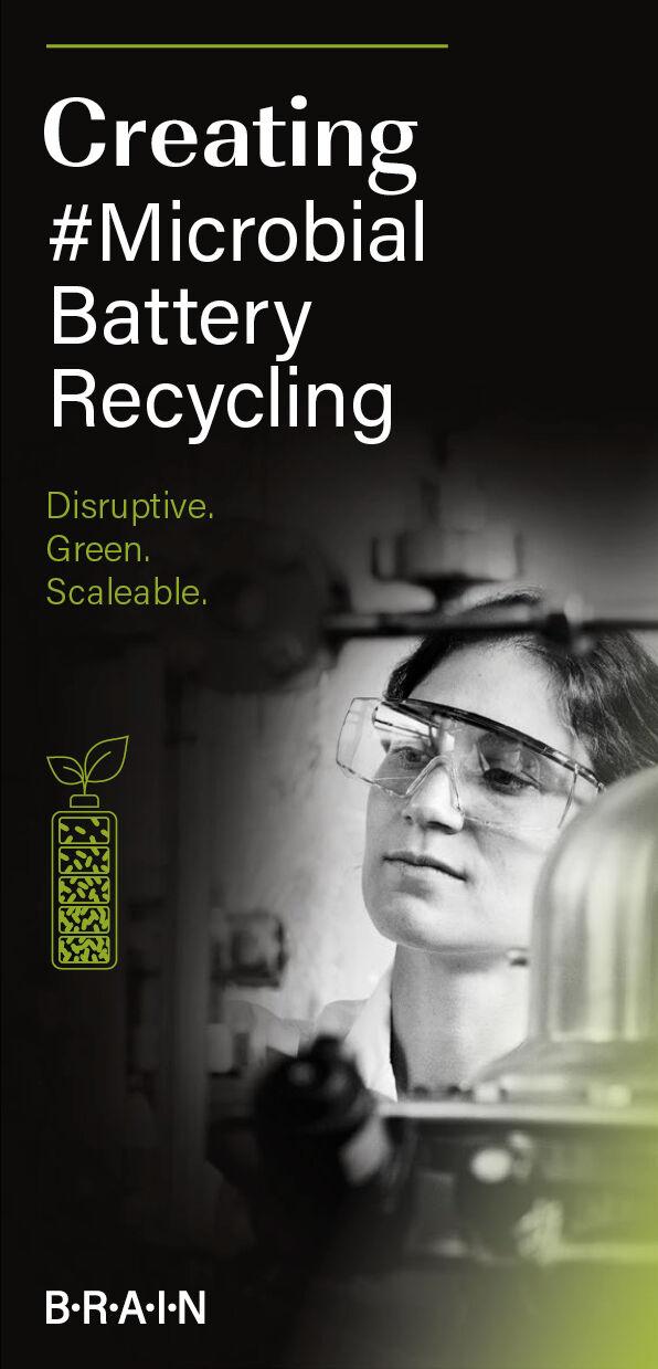 Das Cover des Flyers. Eine Wissenschaftlerin arbeitet an einem Bioprozess für das Batterierecycling. Links ist eine grünen Batterie zu sehen.