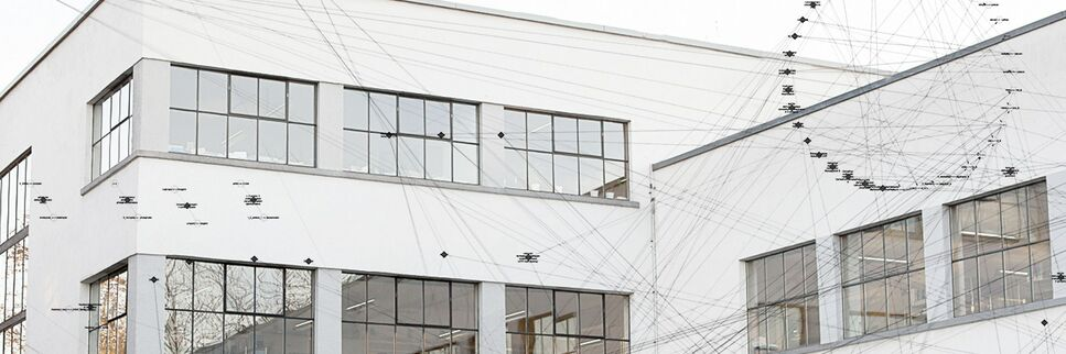 A part of the BRAIN Bauhaus building, with a graphical element