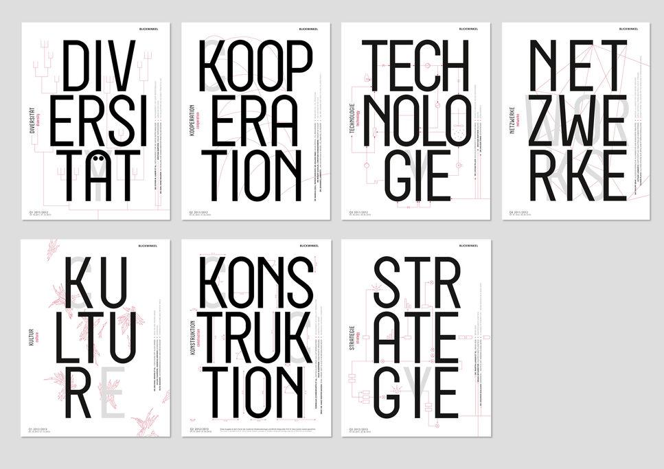 Die Cover der sieben bisher erschienenen und 2014 ausgezeichneten Quartalsberichte Blickwinkel