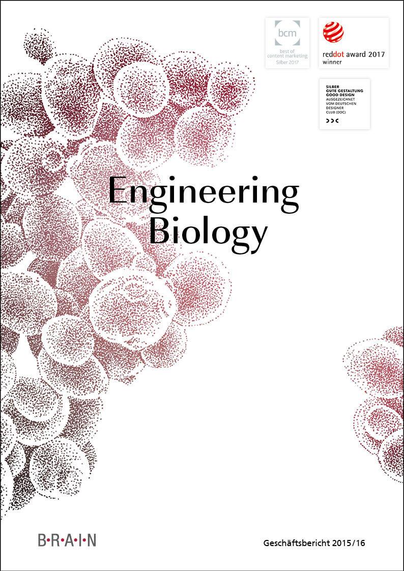 """Cover des BRAIN Geschäftsberichts 2015/16 """"Engineering Biology"""""""