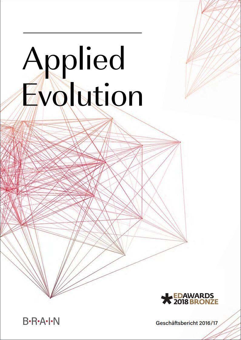 """Cover des BRAIN-Geschäftsbericht 2016/17 """"Applied Evolution"""""""