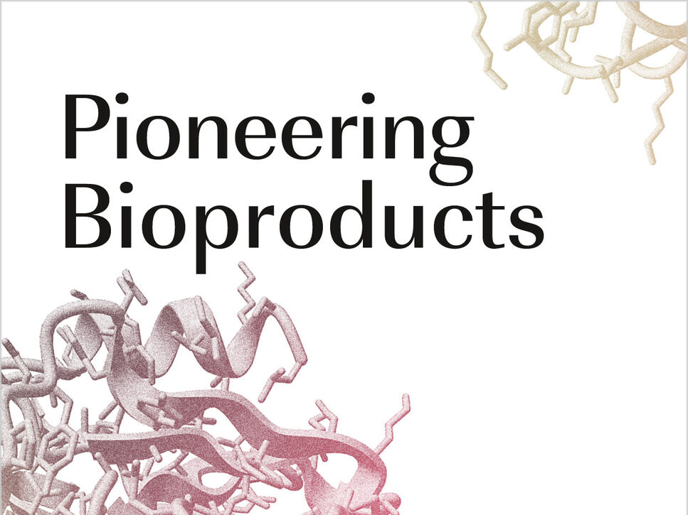 "Cover of the BRAIN Annual Report 2018/19 entitled ""Pioneering Bioproducts"""